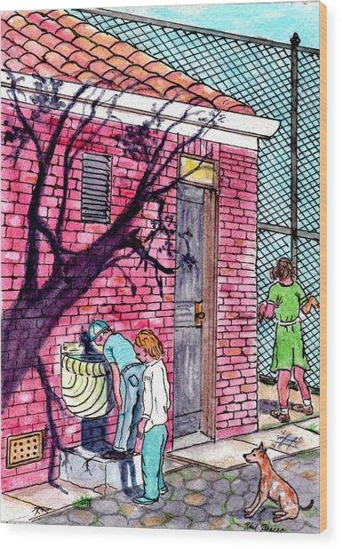 The Park Fountain Brooklyn Ny 1945 Wood Print