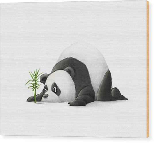 The Patient Panda Wood Print