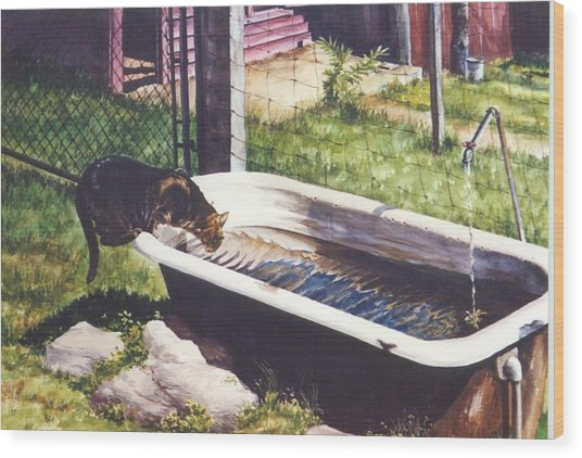 The Paws That Refreshes Wood Print by Marion  Hylton
