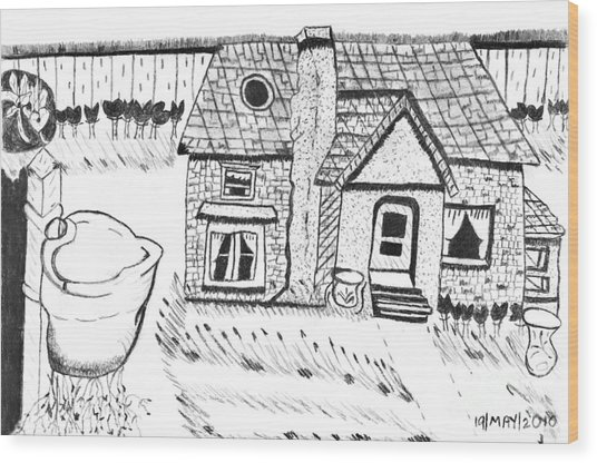 The Peaceful Cottage Wood Print