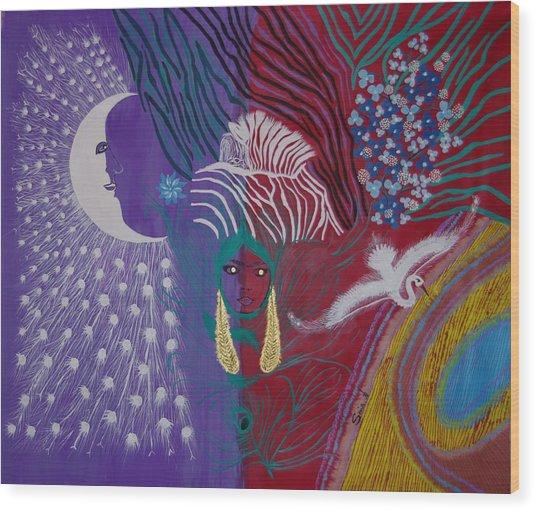 The Peacock Moon Wood Print