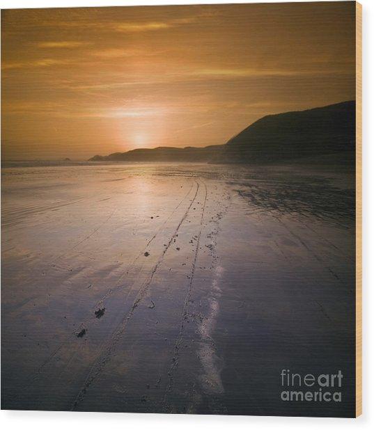 The Pembrokeshire Sunset Wood Print by Angel Ciesniarska