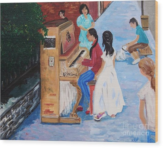 The Piano Player Wood Print