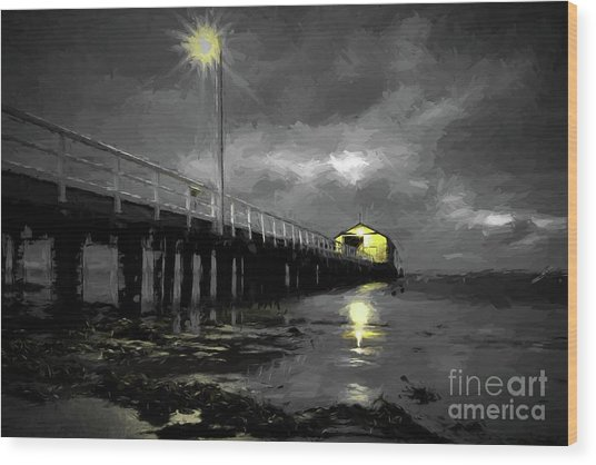 The Pier On The Bay Wood Print