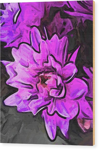 The Pink And Lavender Flowers On The Grey Surface Wood Print