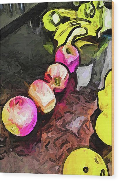 The Pink Apples In A Curve With The Yellow Lemons Wood Print