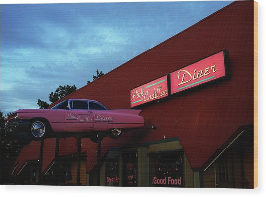 The Pink Cadillac Diner Wood Print