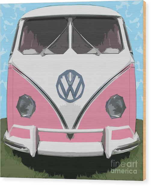 The Pink Love Bus Wood Print