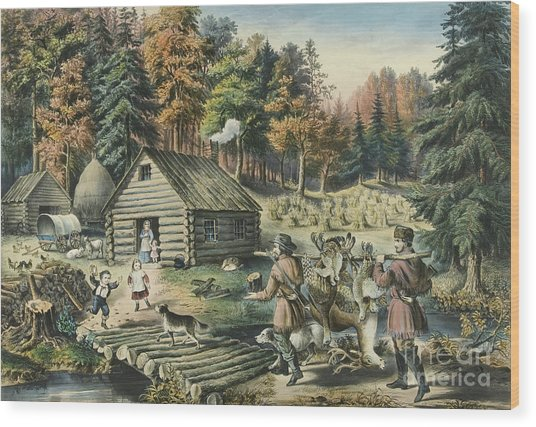 The Pioneers Home On The Western Frontier, 1867  Wood Print