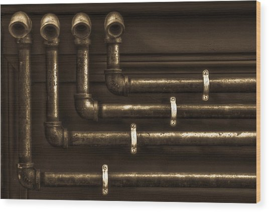 The Pipes Wood Print by Andrew Kubica