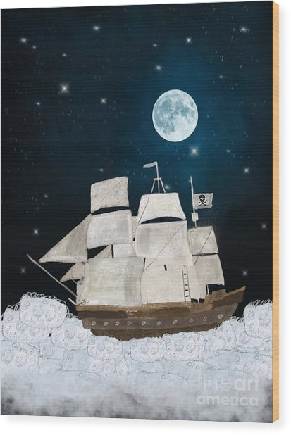 The Pirate Ghost Ship Wood Print