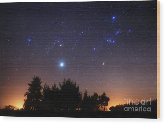 Wood Print featuring the photograph The Pleiades, Taurus And Orion by Luis Argerich
