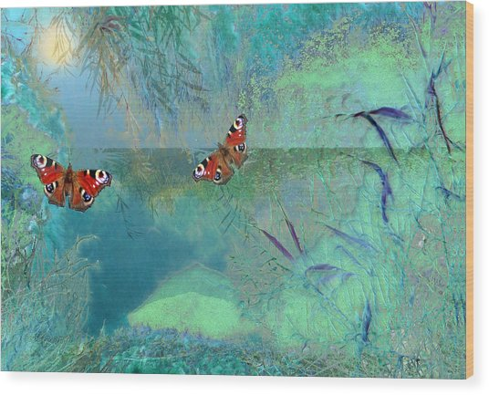 Wood Print featuring the painting The Pond by Valerie Anne Kelly
