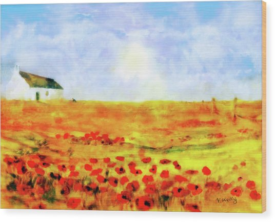 Wood Print featuring the painting The Poppy Picker by Valerie Anne Kelly