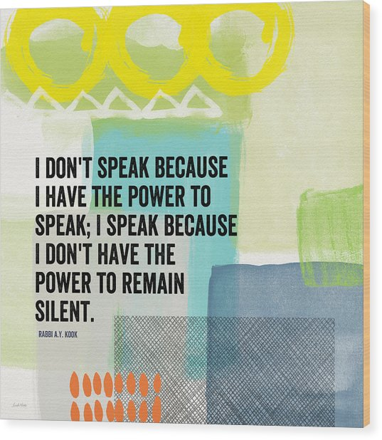 The Power To Speak- Contemporary Jewish Art By Linda Woods Wood Print