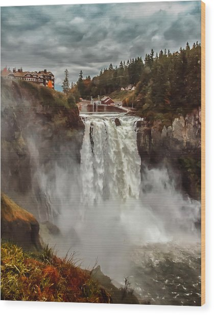 The Powerful Snoqualmie Falls Wood Print