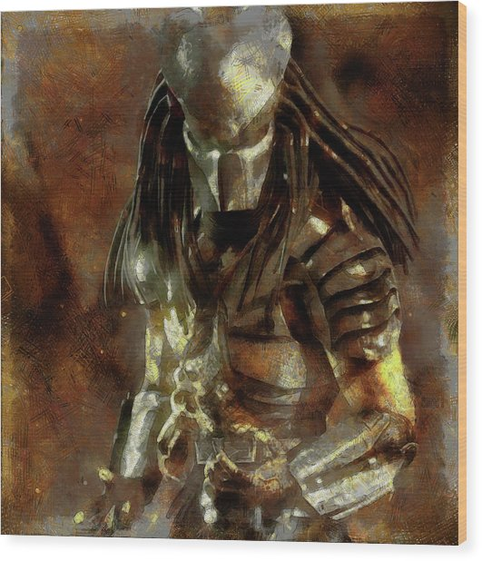 The Predator Scroll Wood Print