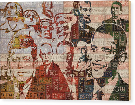 The Presidents Past Recycled Vintage License Plate Art Collage Wood Print