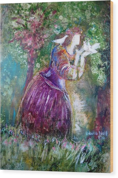 The Princess And The Birds Wood Print