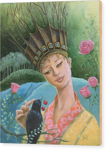 The Princess And The Crow Wood Print