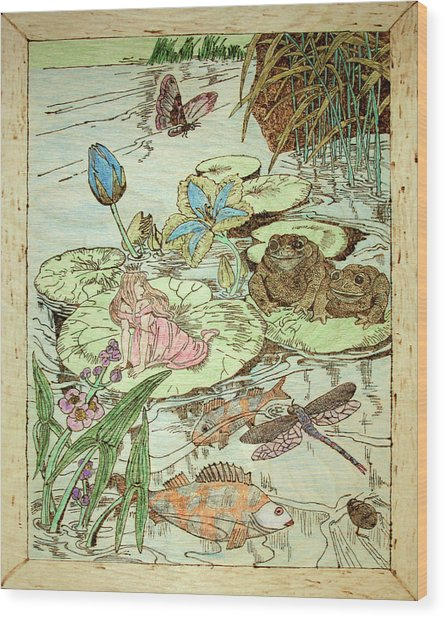 The Princess And The Frogs Wood Print