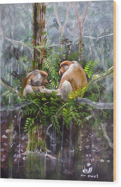 The Probosis Monkey Family Wood Print by Muyang Kumundan