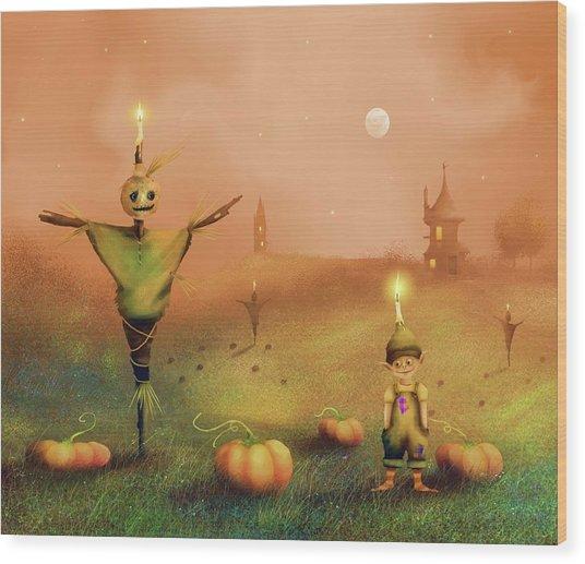 The Pumpkin Thief Wood Print