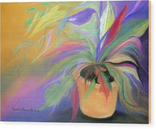 The Purple Bird Wood Print by Maritza Bermudez
