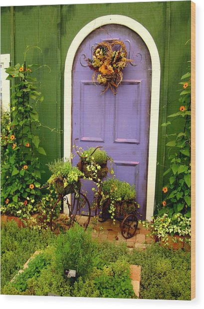 The Purple Door Wood Print
