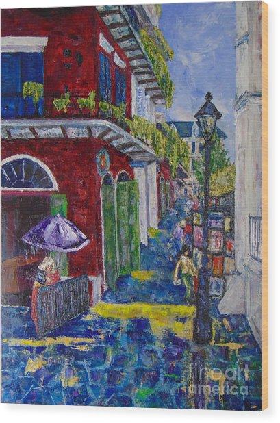 The Purple Umbrella        Pirates Alley Wood Print