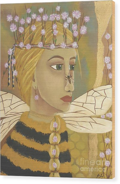 The Queen Bee's Honeycomb Wood Print
