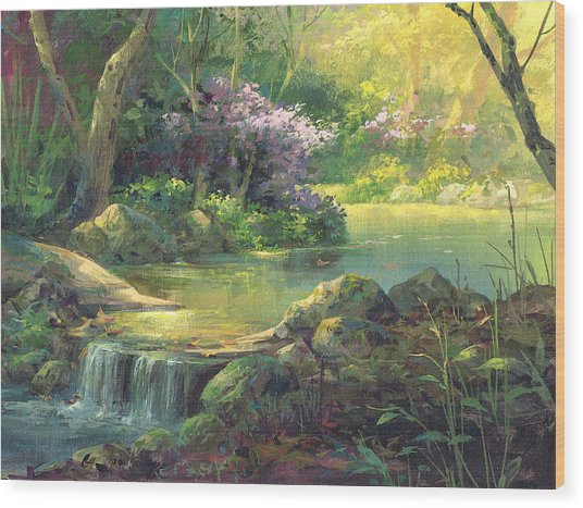 The Quiet Creek Wood Print