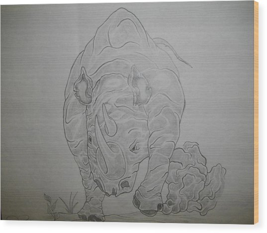 The Raging Rhino Wood Print by Nicole Lee