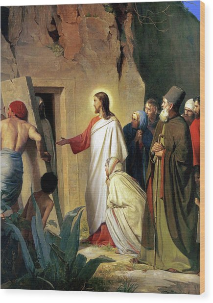 The Raising Of Lazarus Wood Print by Carl Bloch
