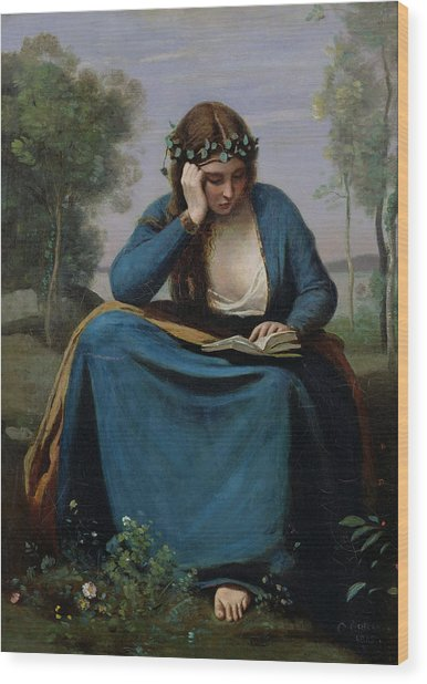 The Reader Crowned With Flowers Wood Print