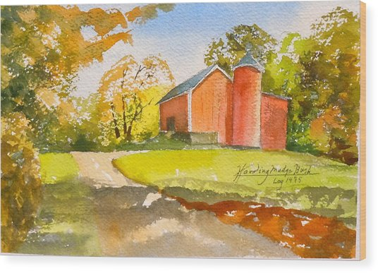 The Red Barn Wood Print by Harding Bush