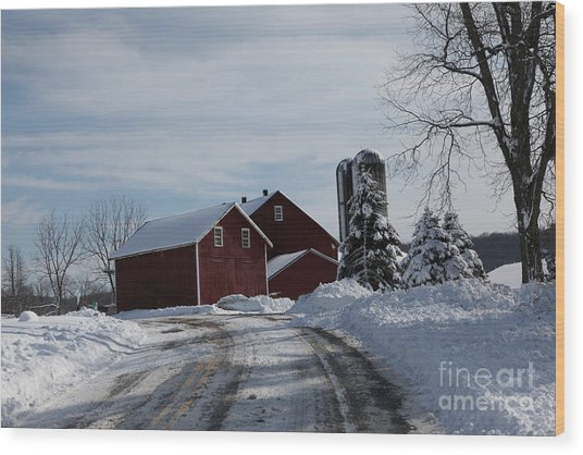 The Red Barn In The Snow Wood Print