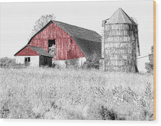 The Red Barn - Sketch 0004 Wood Print