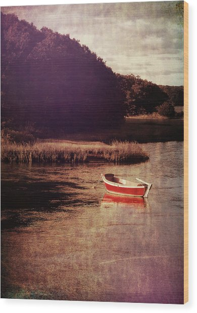 The Red Boat Wood Print by JAMART Photography