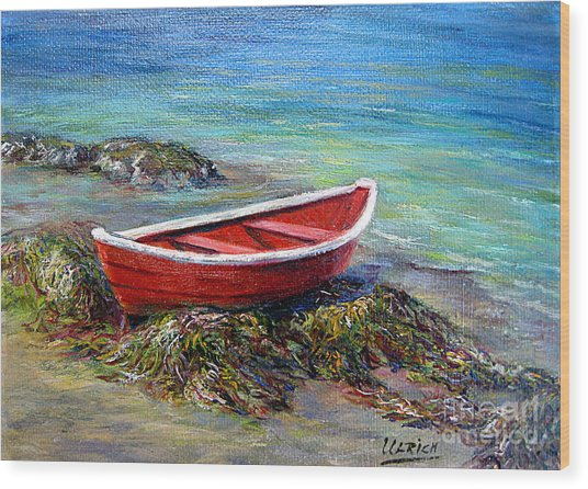 The Red Boat Wood Print by Jeannette Ulrich