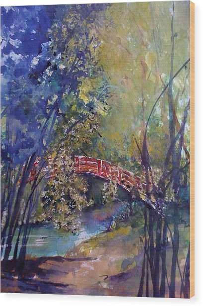 The Red Bridge Wood Print by Robin Miller-Bookhout