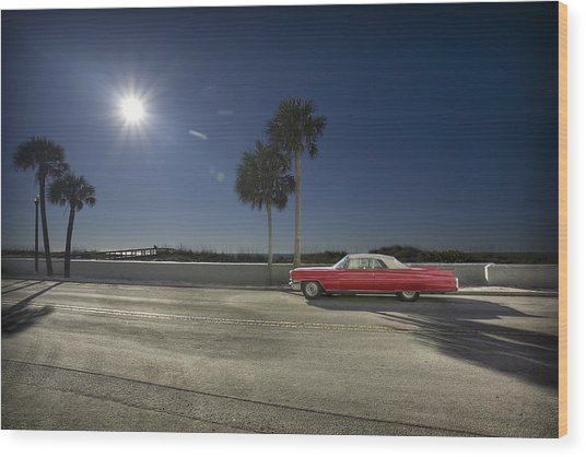 The Red Cadillac Wood Print