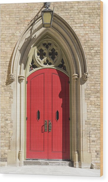 The Red Church Door. Wood Print