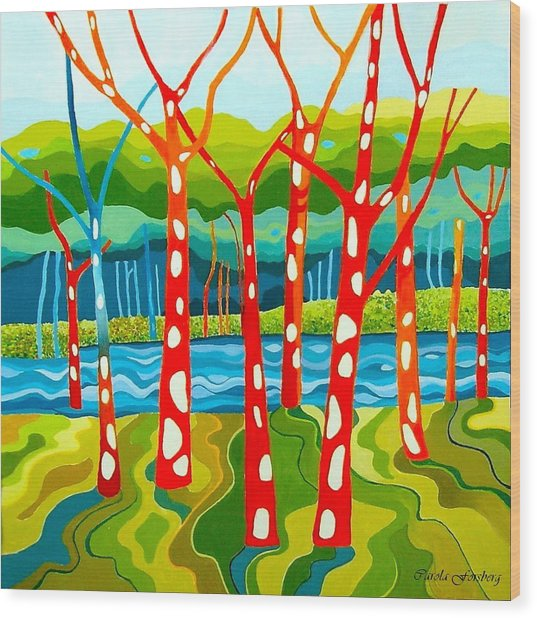 The Red Forest Wood Print by Carola Ann-Margret Forsberg
