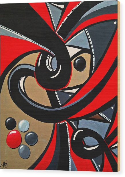Red Black Abstract Art Painting, Swirl Acrylic Painting Wood Print