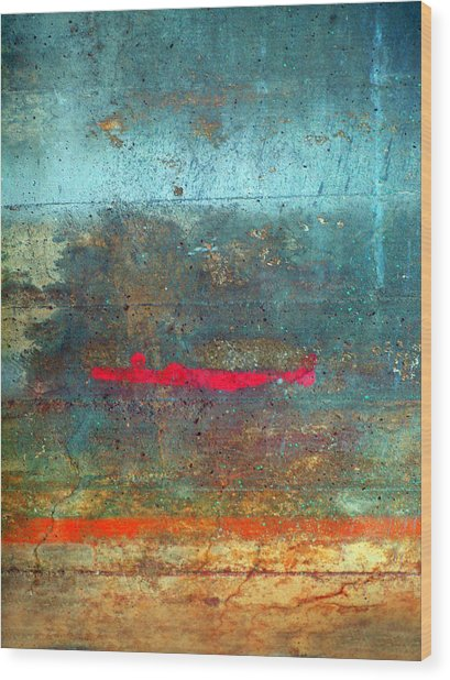 The Red Line Wood Print