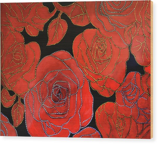 The Red Red Roses Wood Print