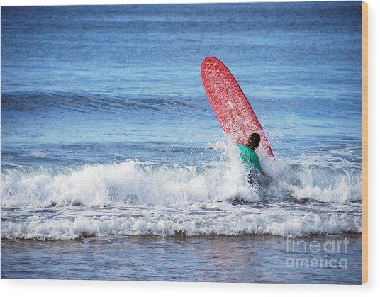 The Red Surfboard Wood Print by Joe Scoppa