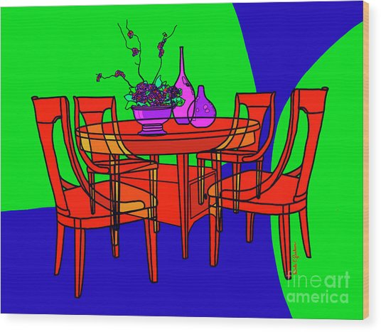 The Red Table Wood Print