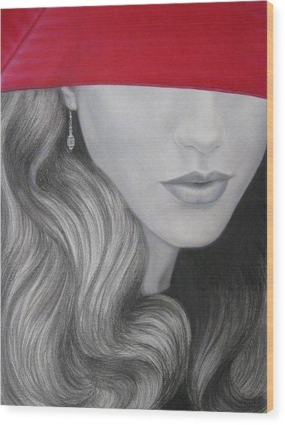 The Red Umbrella Wood Print